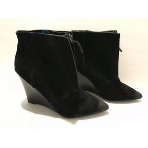 Joe's pointed toe wedge suede ankle boots 10 M